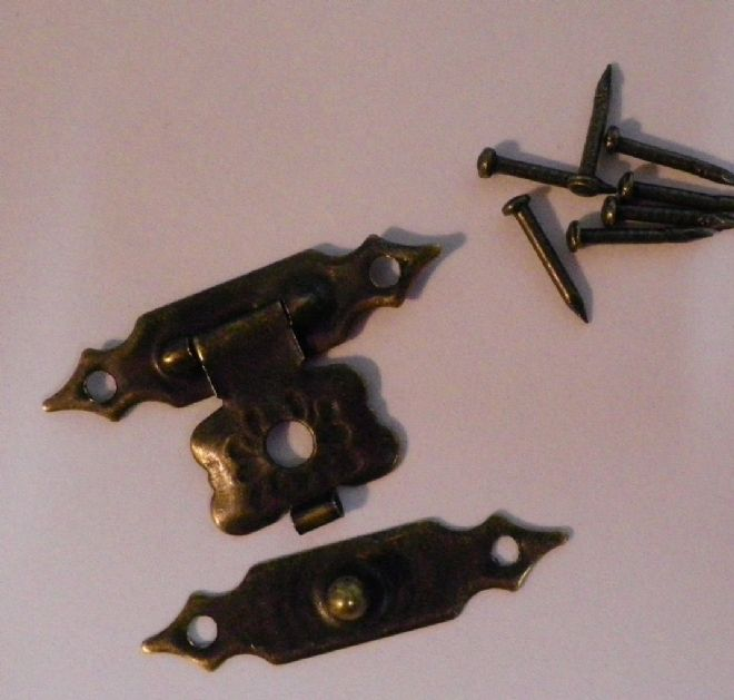 NEW Pair of metal buckles catches latches for small box etc antique finish C011